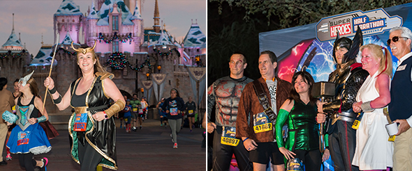 Adult women in Loki costume at runDisney 2017 Super Heroes half marathon