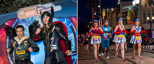 Adult male in Falcon costume at runDisney 2017 Super Heroes half marathon