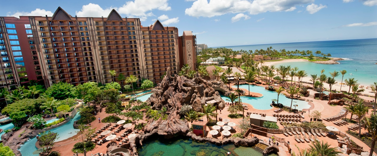 Aulani and the pool area on Ko Olina Beach in Hawai'i