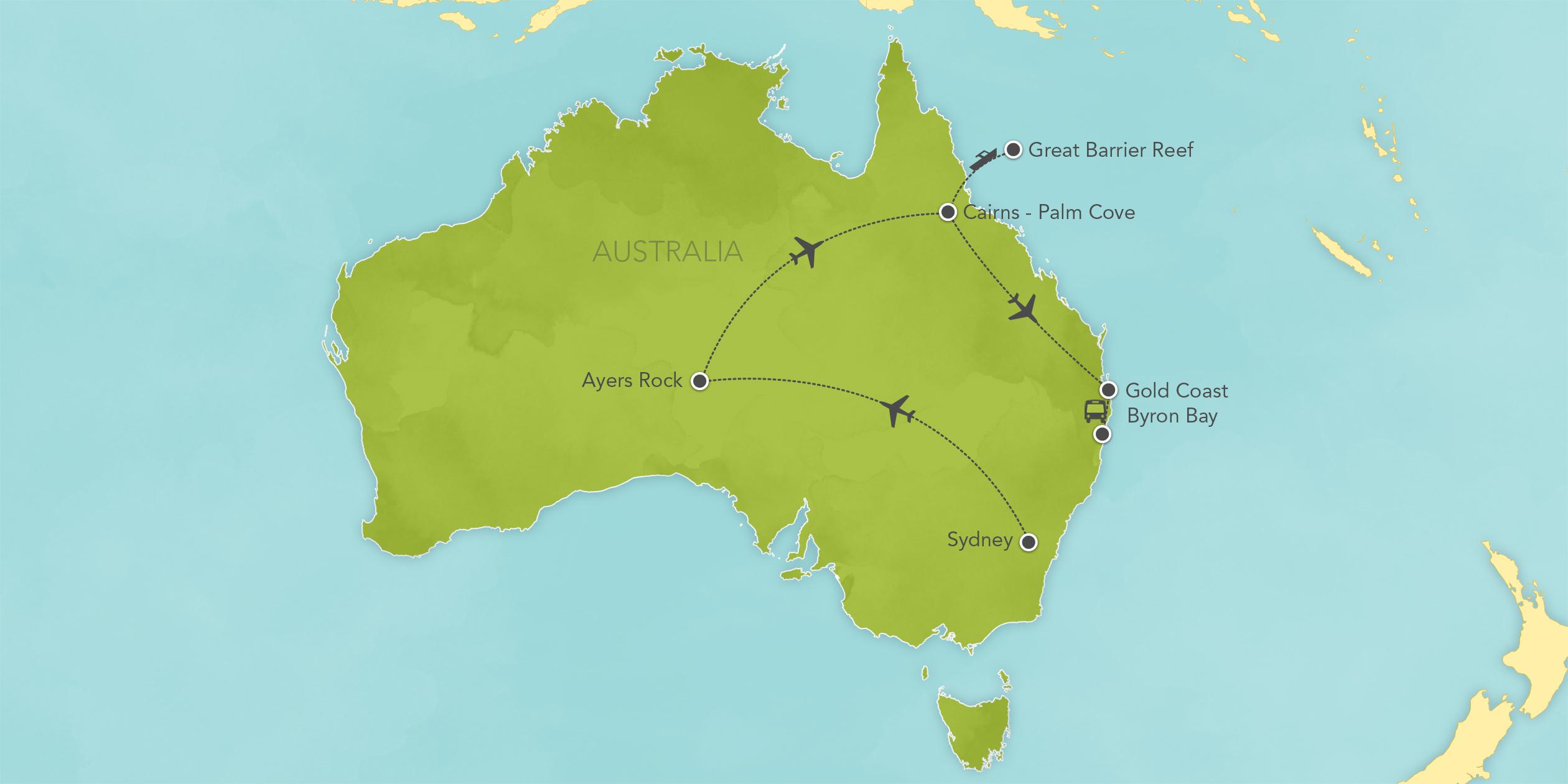 Itinerary map of Australia: Sydney, Ayers Rock, Tasmania & Great Barrier Reef 2017>