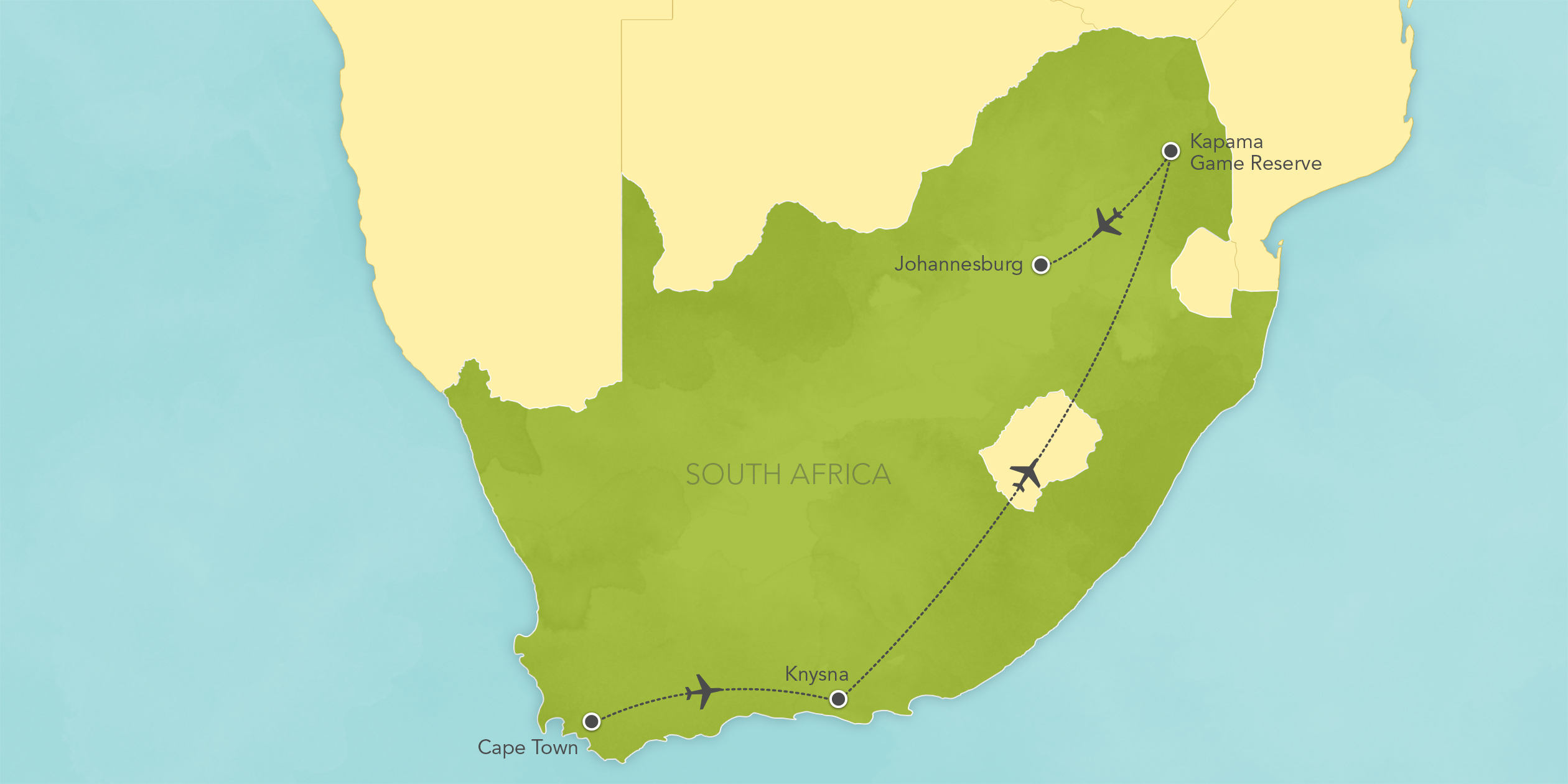 Itinerary map of South Africa Safari: Cape Town, Knysna, Kapama Game Reserve 2017