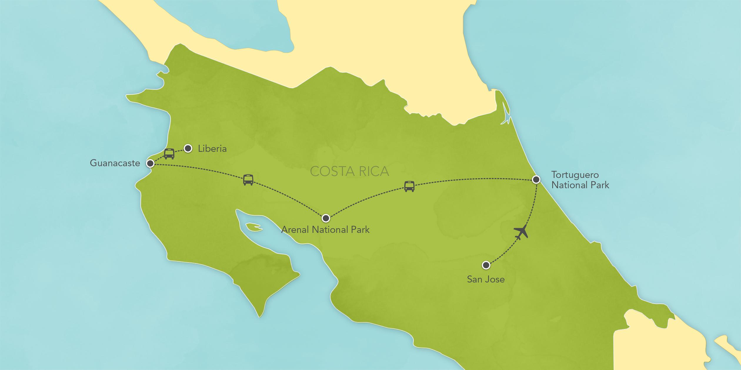 Itinerary map of Costa Rica: Tortuguero, Arenal, Guanacaste, San José 2018