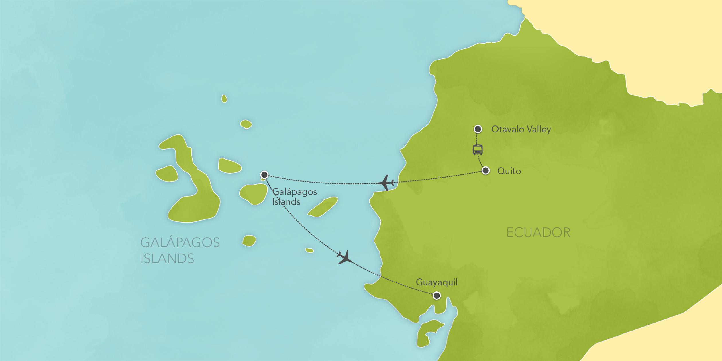 Itinerary map of Ecuador & Galápagos Islands: Quito, Otavalo Valley 2018