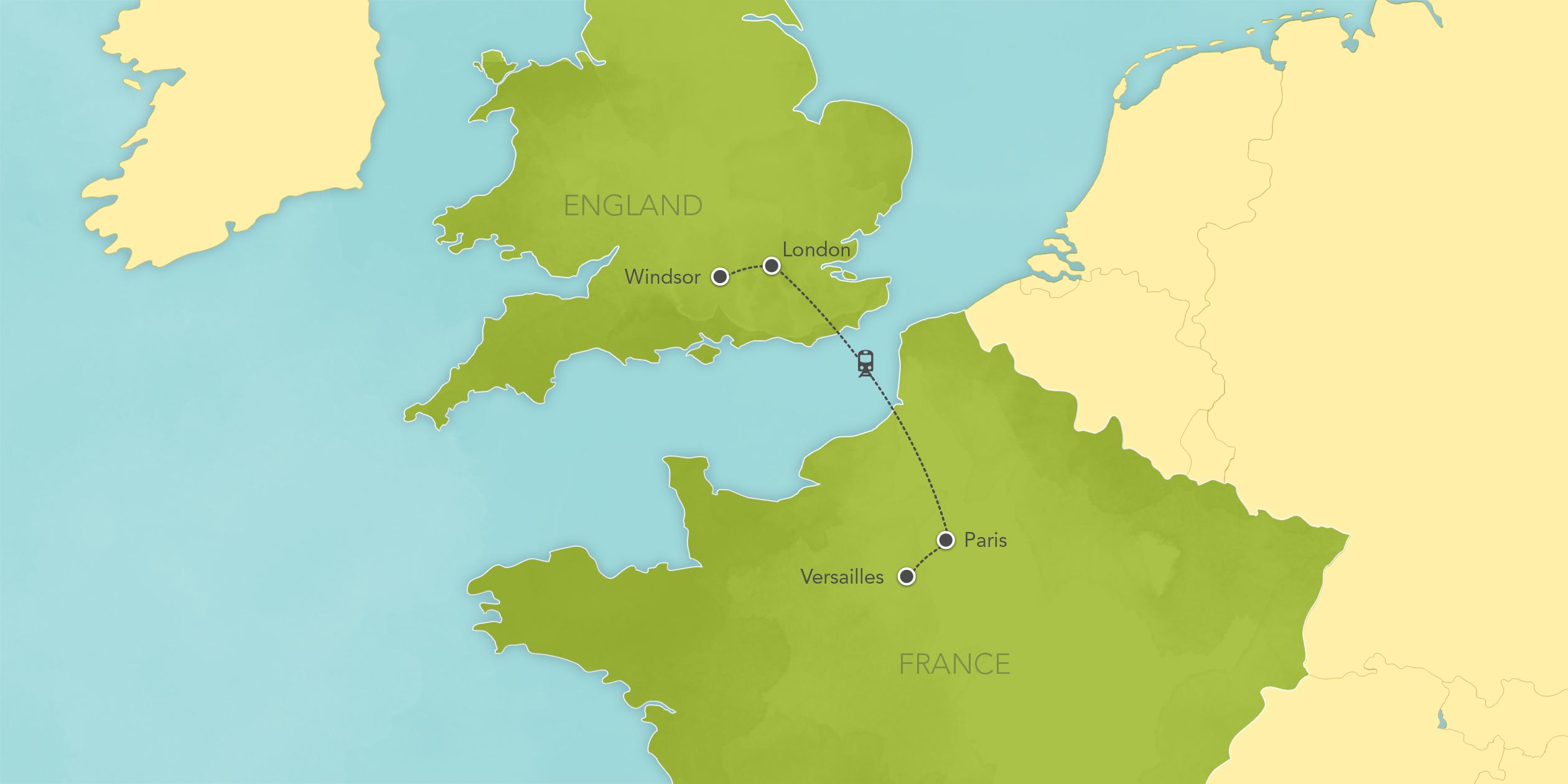 Itinerary map of England & France: London, Paris, Versailles 2018