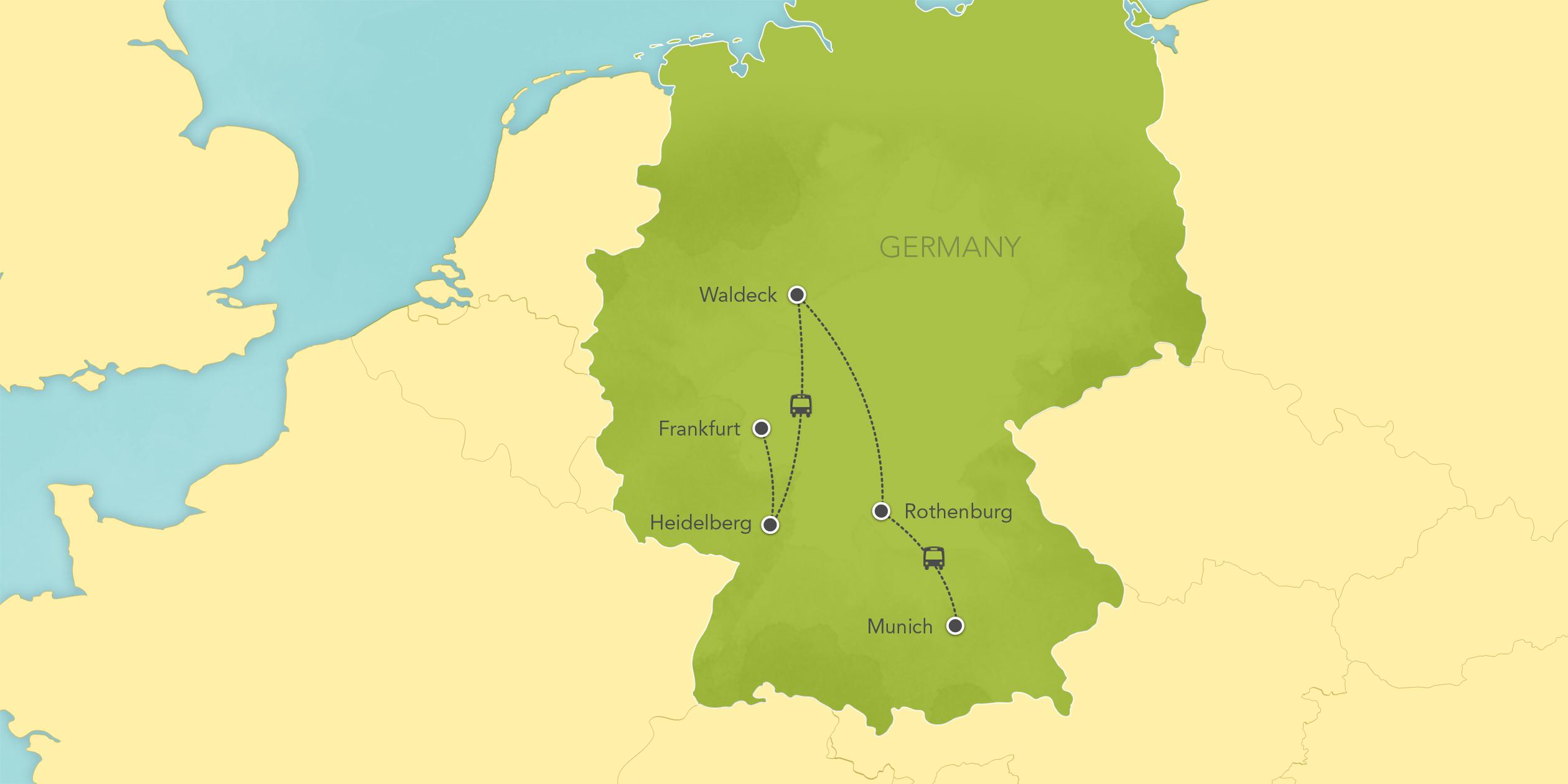 Itinerary map of Germany: Heidelberg, Waldeck, Rothenburg, Munich 2017