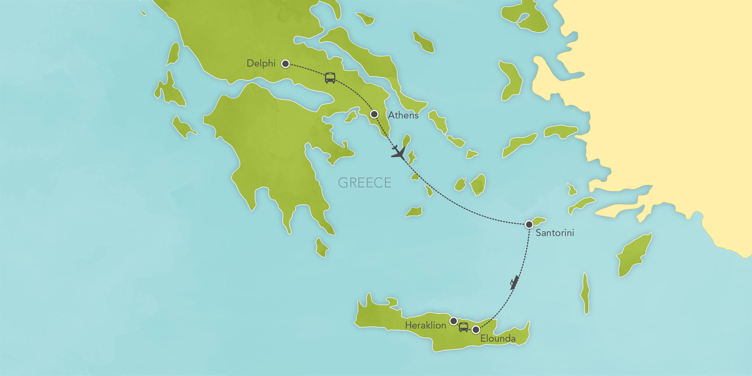 Itinerary map of Greece: Athens, Delphi, Santorini, Crete 2017
