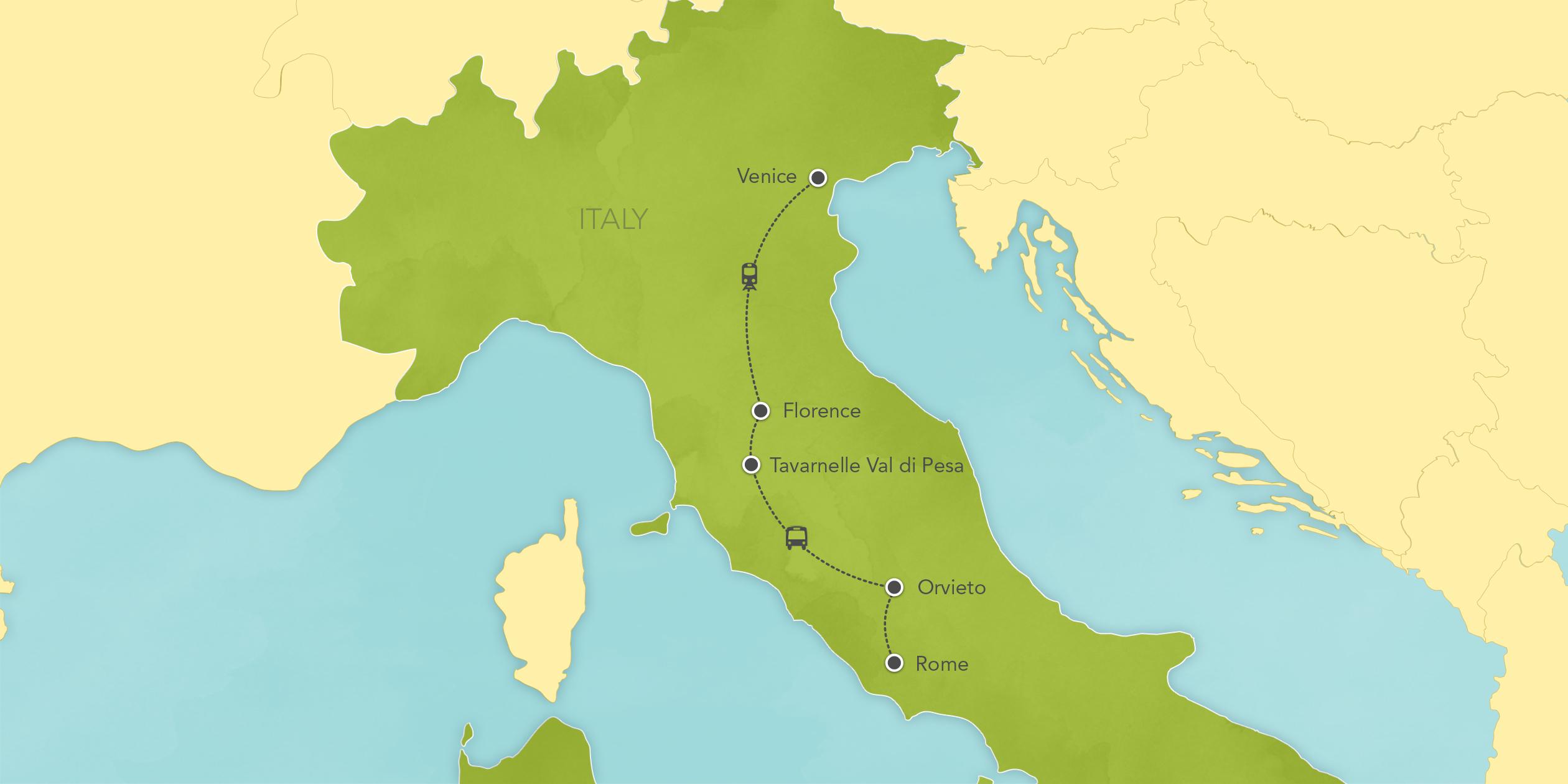 Itinerary map of Italy: Rome, Florence, Tuscany, Venice 2017