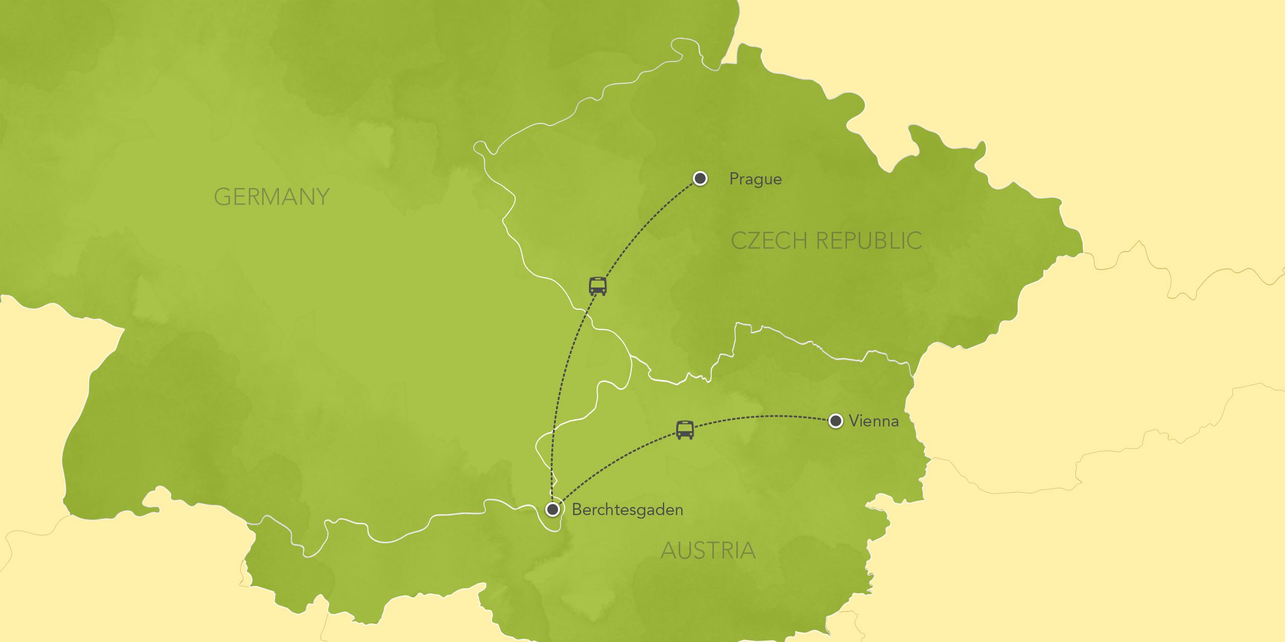 Itinerary map of Austria, Germany & Czech Republic: Prague, Salzburg, Vienna, Bavarian Alps 2017>