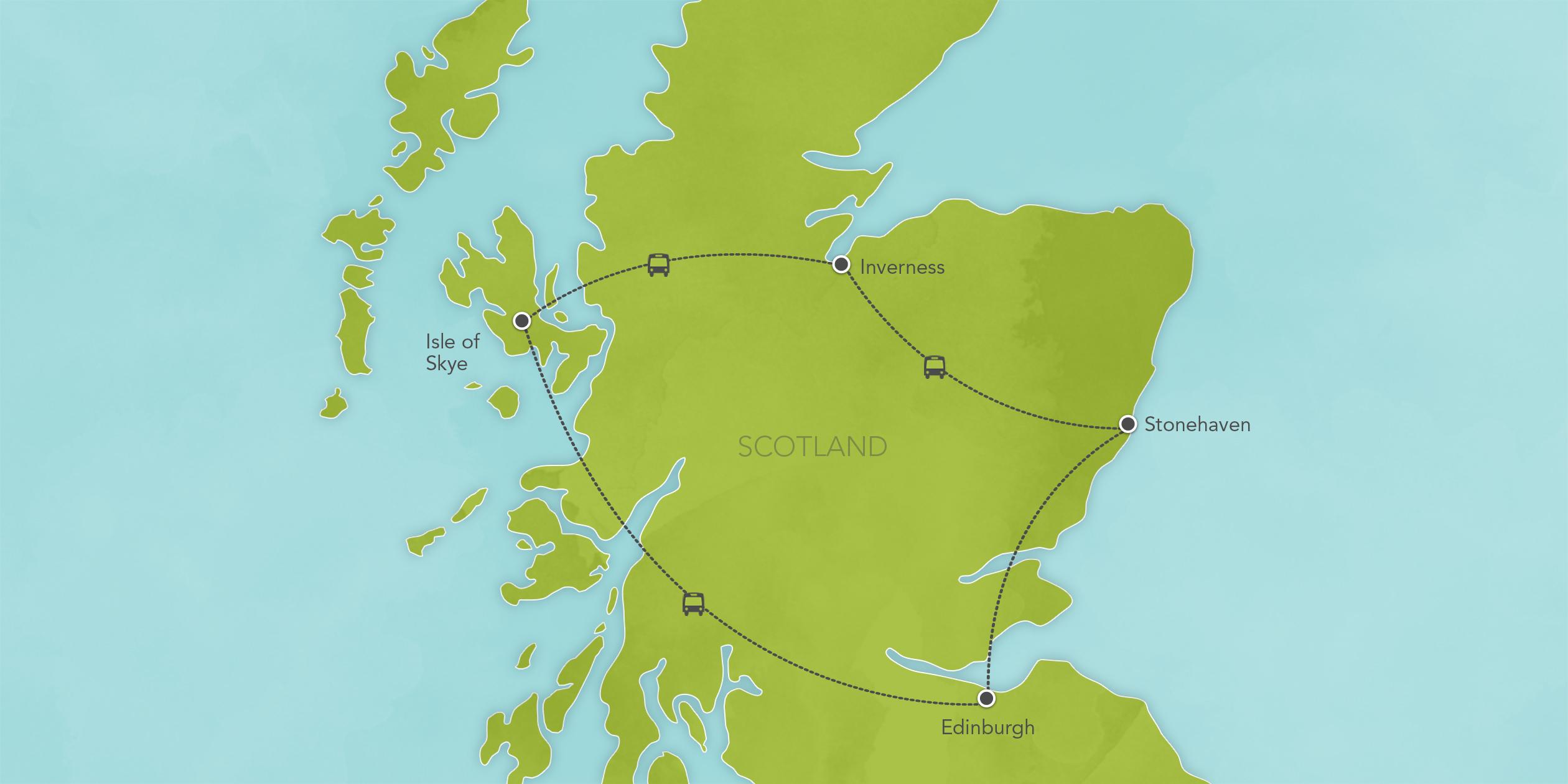 Itinerary map of Scotland: Loch Ness, Edinburgh, Inverness, Isle of Skye 2017