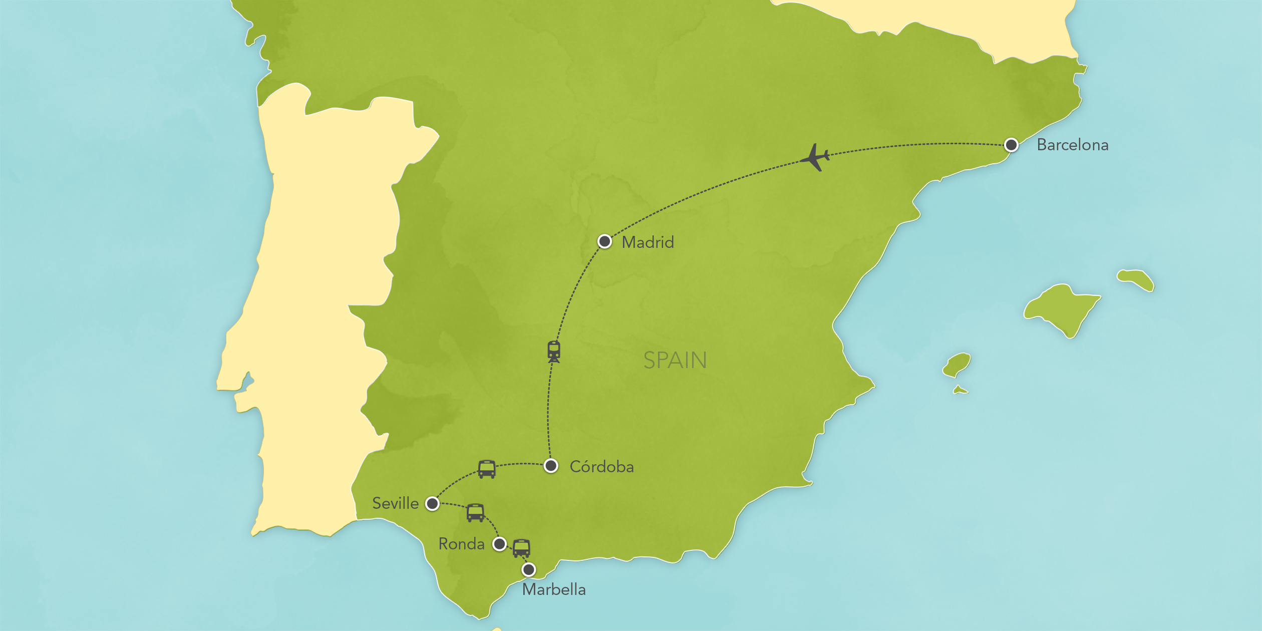 Itinerary map of Spain: Madrid, Segovia, Córdoba, Seville, Ronda, Marbella and Barcelona 2017