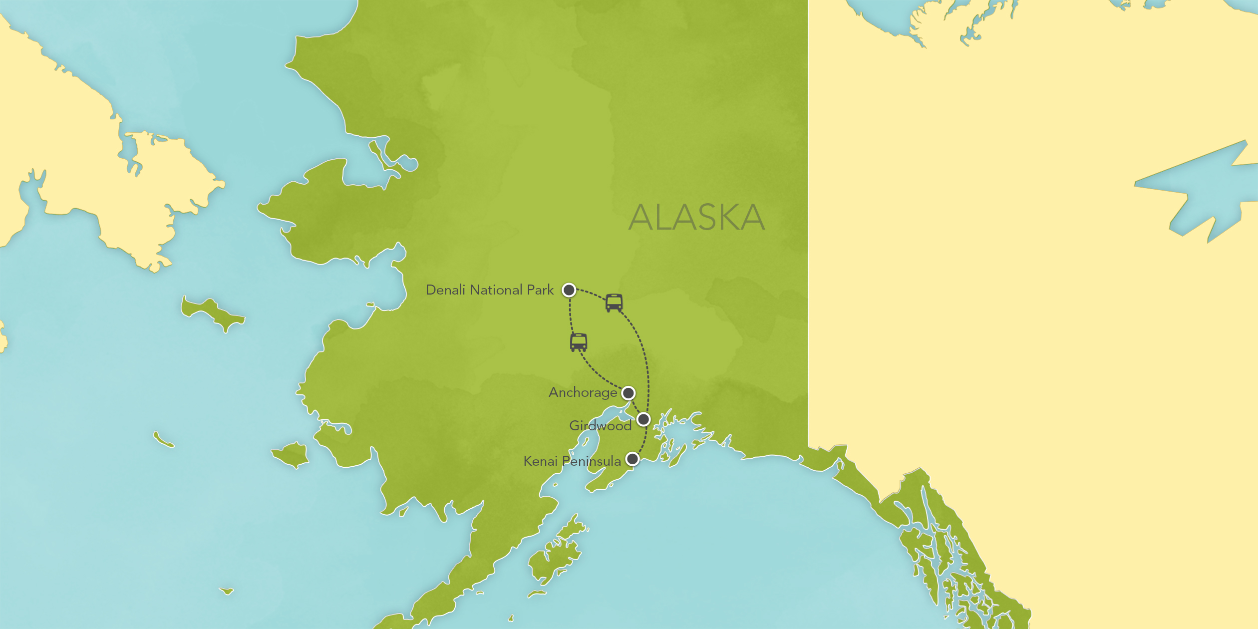 Itinerary map of Alaska: Denali National Park, Anchorage, Kenai Peninsula 2017