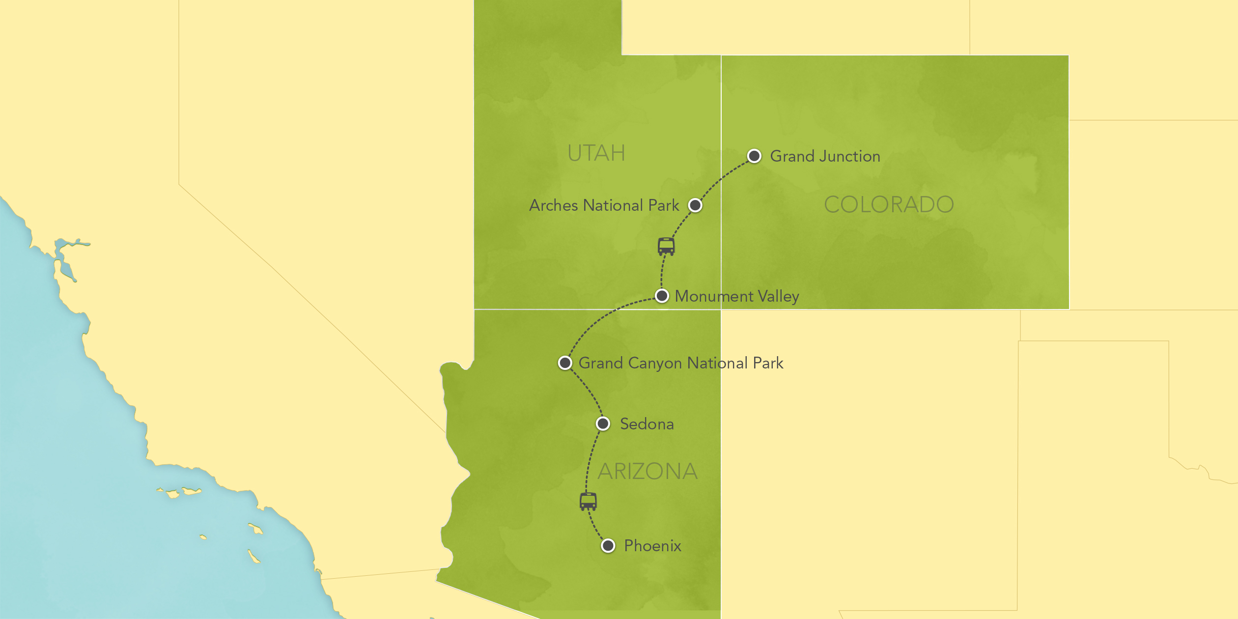 Itinerary map of Arizona & Utah: Grand Canyon, Moab, Arches National Park 2017