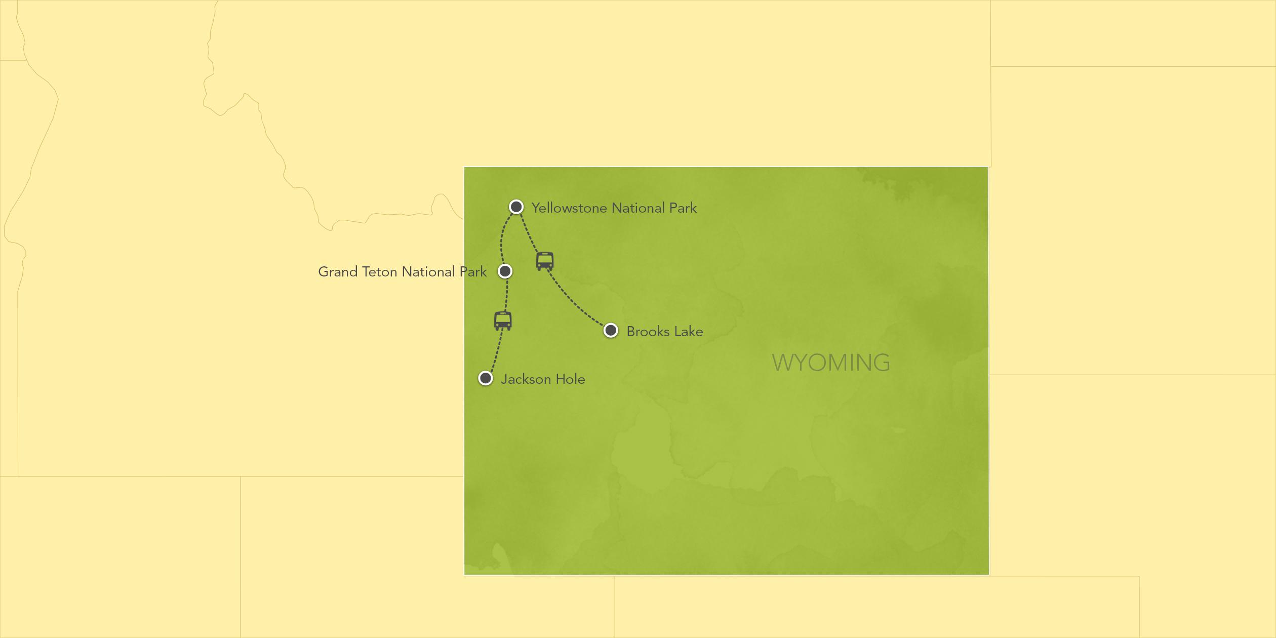 Itinerary map of Wyoming: Jackson Hole, Brooks Lake, Grand Teton National Park, Yellowstone National Park 2017>