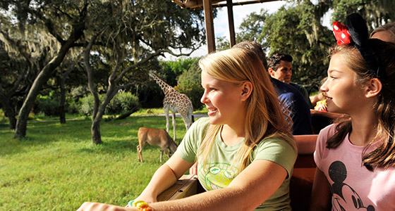 A mom and daughter on Kilimanjaro Safaris at Disney's Animal Kingdom Park