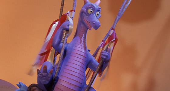 Figment, a purple dragon and tour guide of the Imagination Institute.