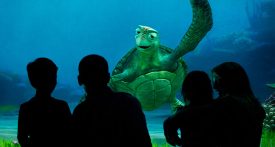 A family watches Turtle Talk With Crush at Epcot