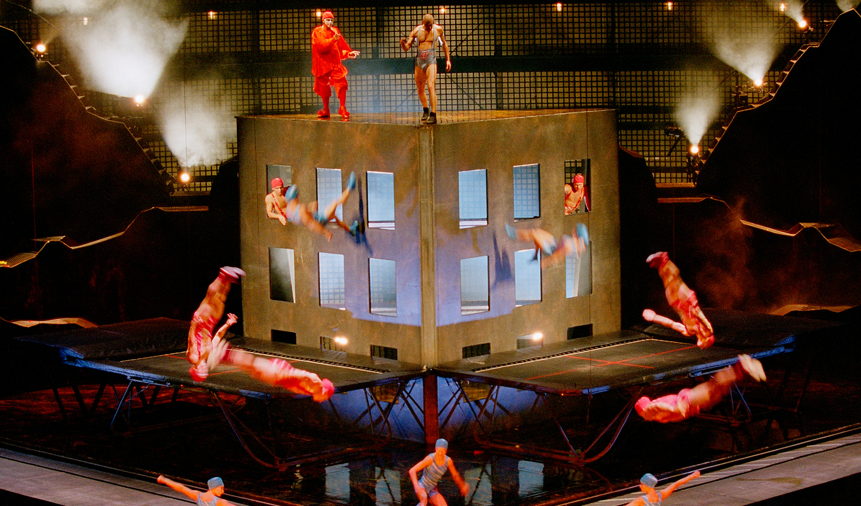 Acrobats performing a show on stage during La Nouba by Cirque du Soleil at the Downtown Disney area