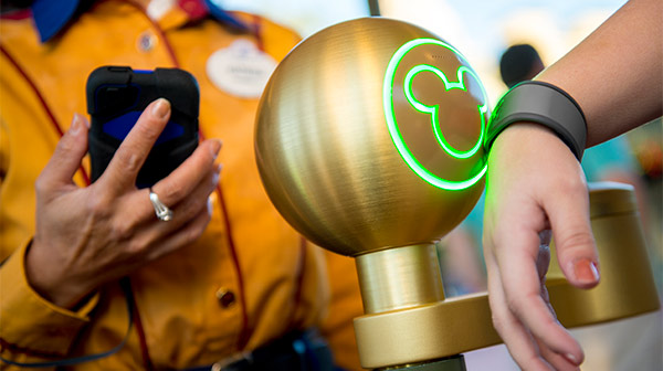 Mickey ears illuminate as a Guest places a MagicBand near a touch point at Walt Disney World Resort