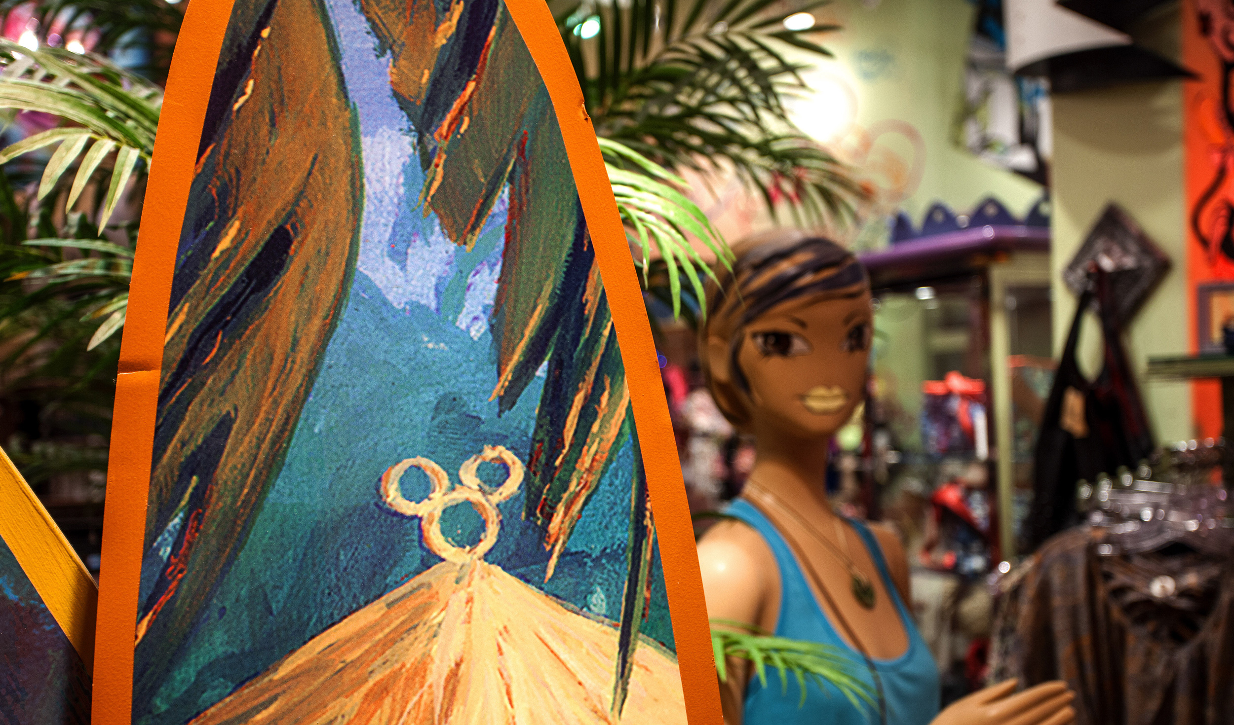 Fashionable clothing and chic accessories on display at Tren-D, located in the Downtown Disney area