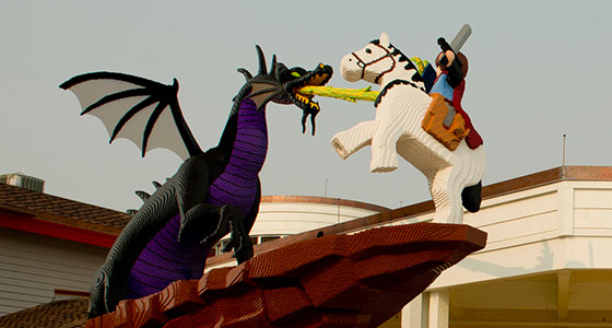 A LEGO knight and dragon at The LEGO Store in the Downtown Disney area