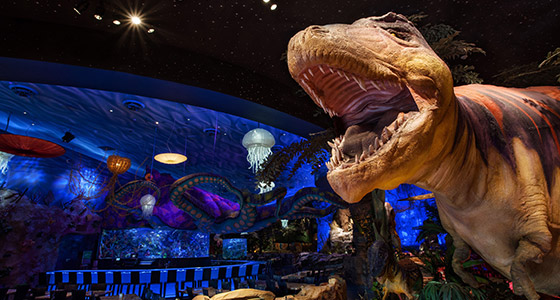 The giant dinosaur at T-REX, a restaurant in the Downtown Disney area