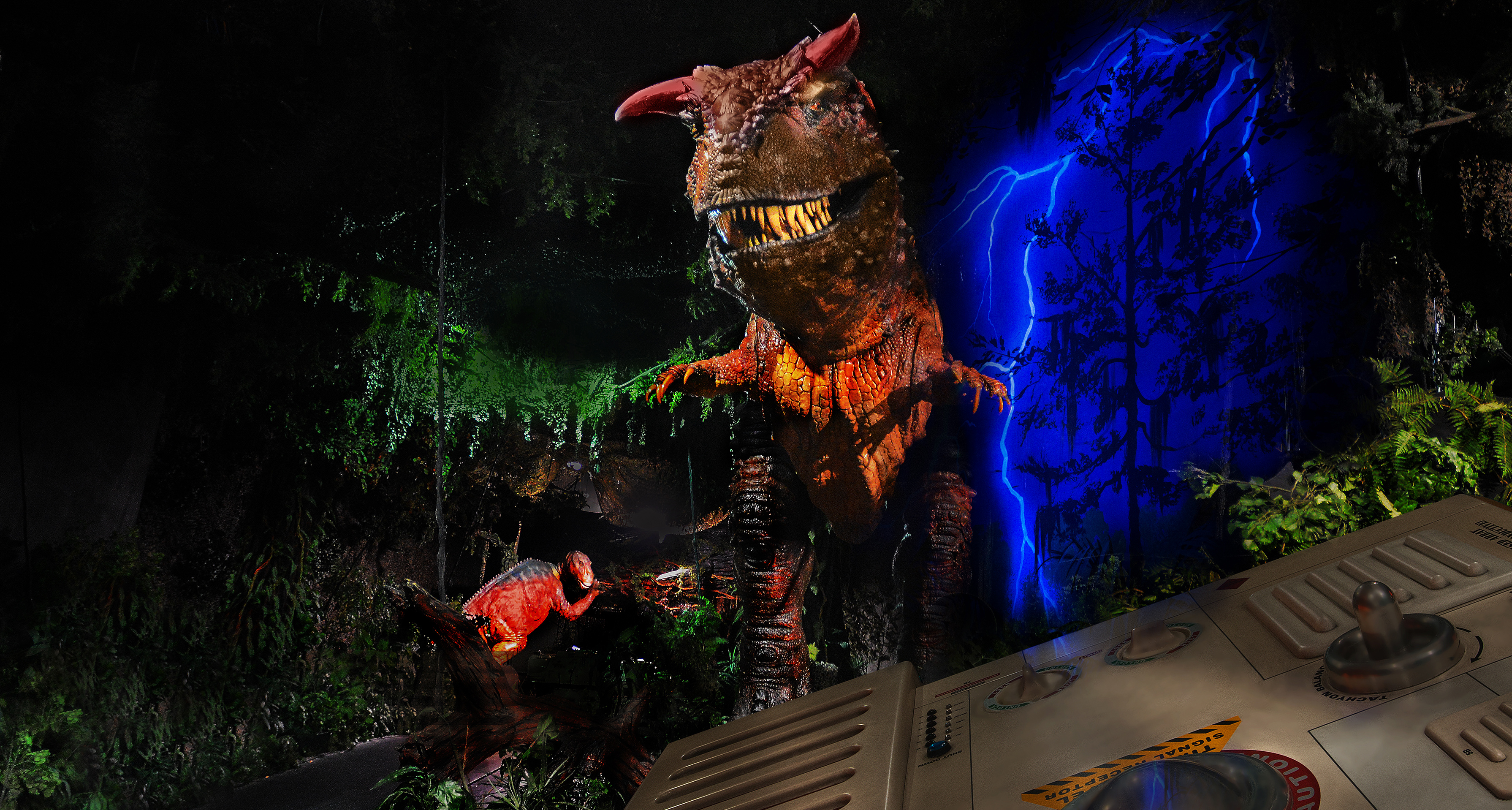 A large carnivorous creature popping out at Guests on DINOSAUR at Disney's Animal Kingdom theme park