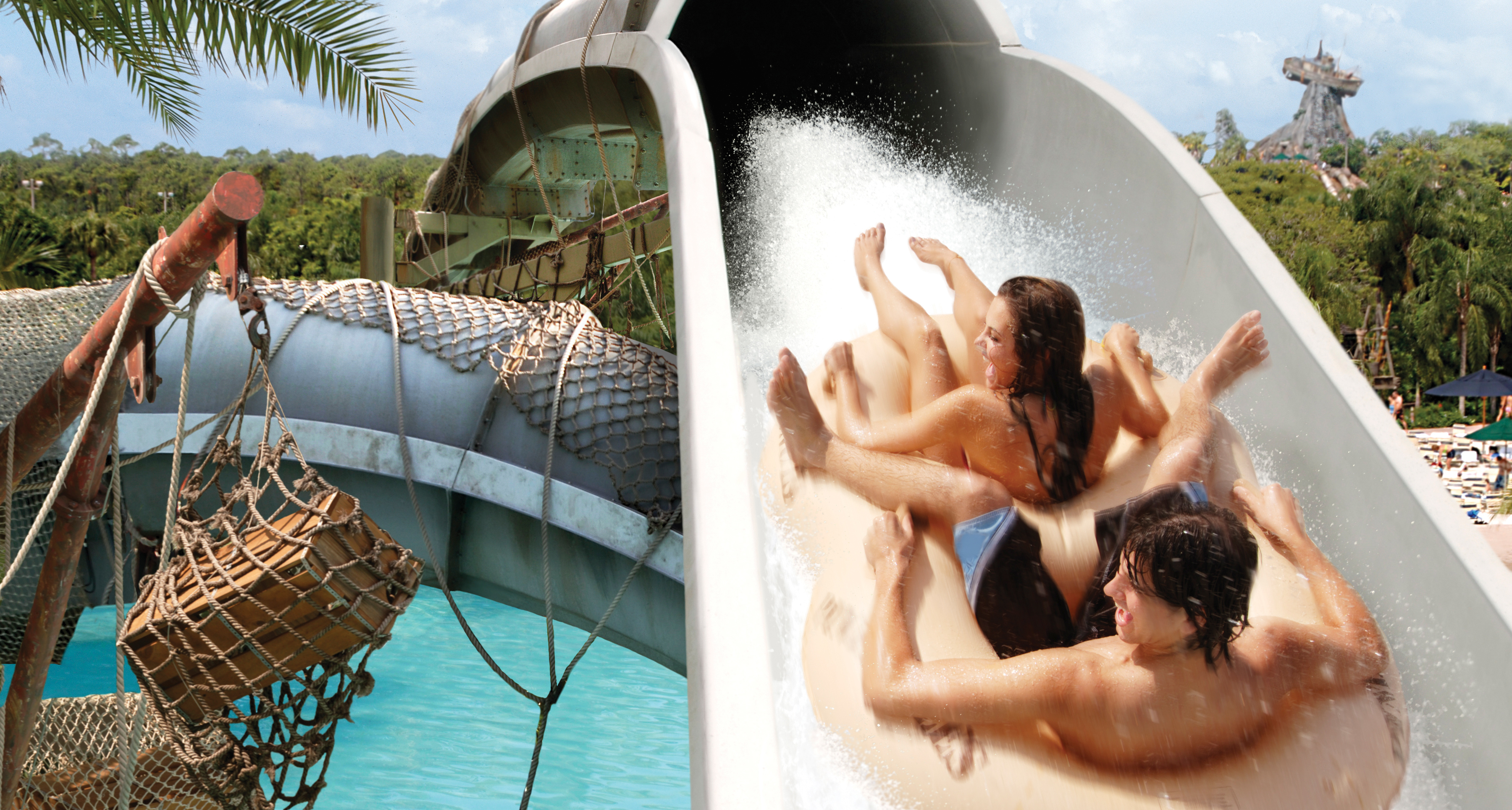 Guests hold on tightly while rapidly sliding down the roller coaster-like raft ride Crush 'n' Gusher