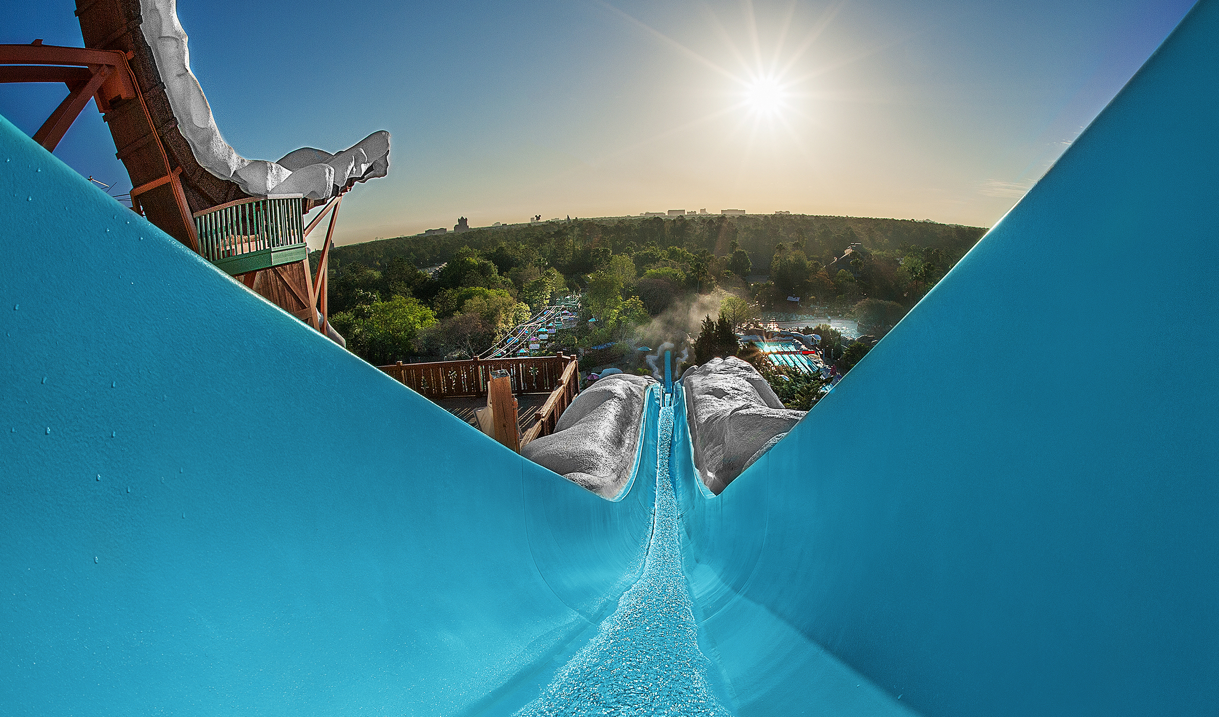 Slush Gusher, a high-speed waterslide, stretches downhill from the Mount Gushmore's summit