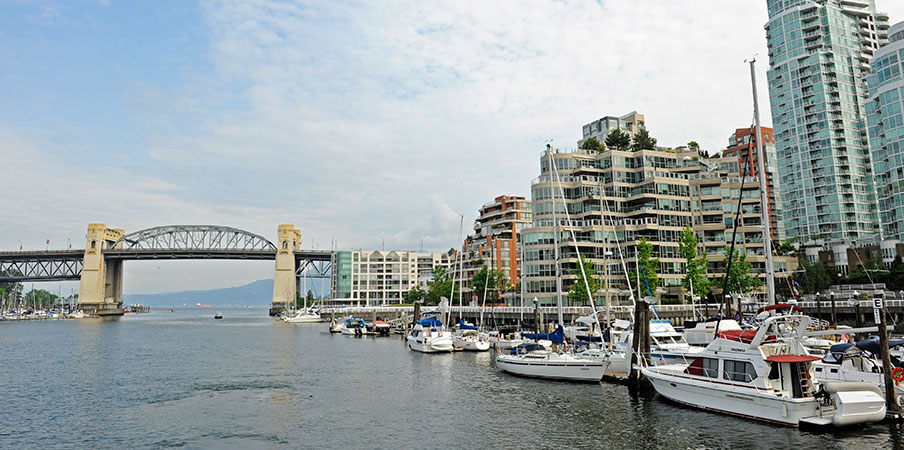 Une marina remplie de bateaux près d'un pont et d'une ville