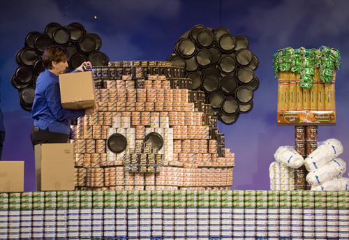 Giant Mickey Made of Cans for Disney's Celebrate Volunteers Event