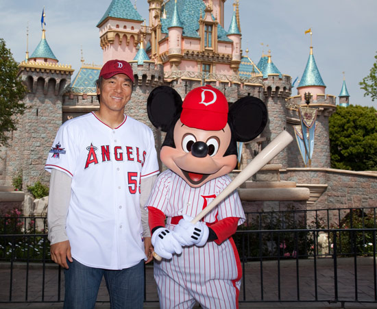 Hideki Matsui of the Los Angeles Angels of Anaheim with Mickey at Disneyland Park