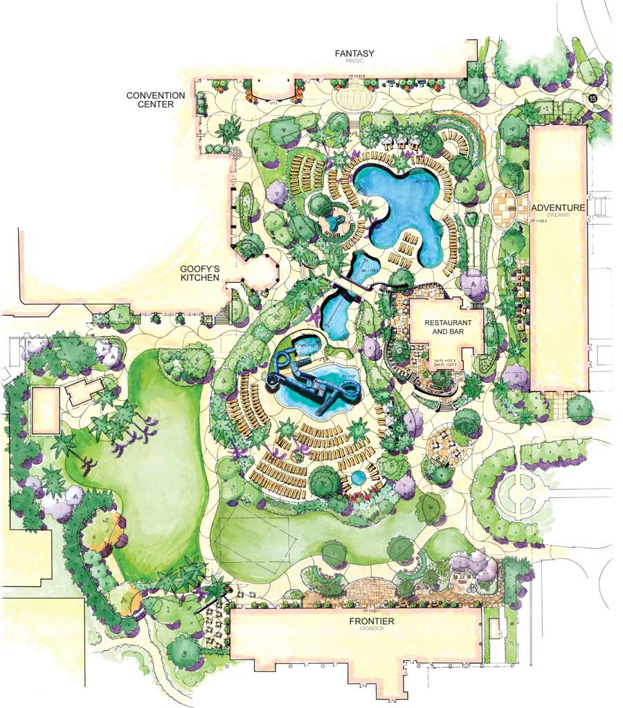 Aerial View Never Land Pool