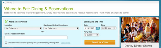 Walt Disney World Online Dining Reservation System