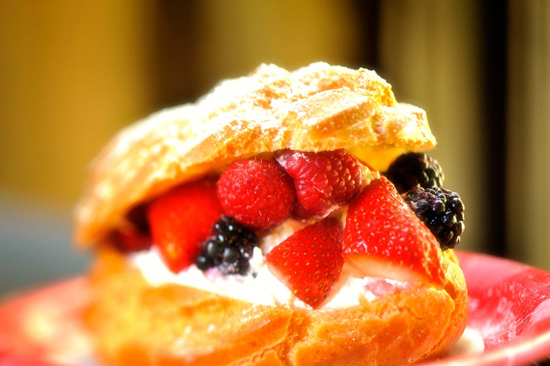 Jumbo Cream Puffs with Fresh Berries at Kringla Bakeri og Kafe