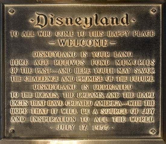 Opening day dedication speech by Walt Disney on Town Square plaque