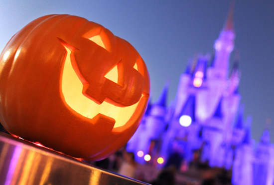 Jack-o-Lantern in Front of Cinderella Castle at Magic Kingdom