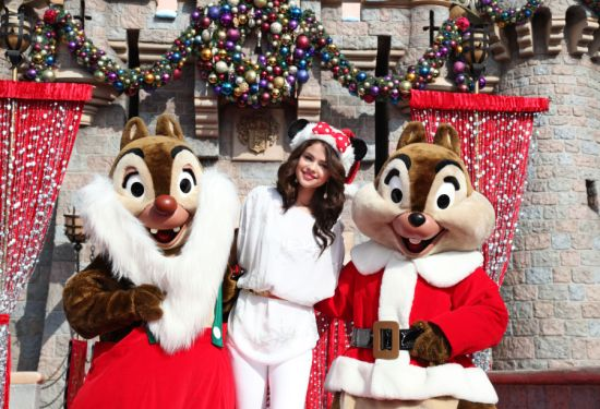 Selena Gomez with Chip and Dale