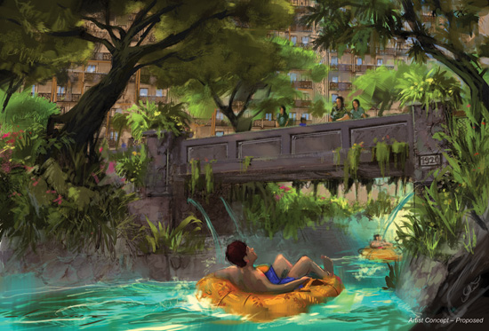 Artist Rendering of the Waikolohe Stream at Aulani, a Disney Resort & Spa