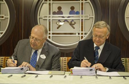 President of Disney Cruise Line, Karl Holz and Managing Partner of Meyer Werft, Bernard Meyer