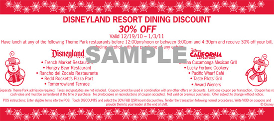 Disneyland Resort Dining Discount