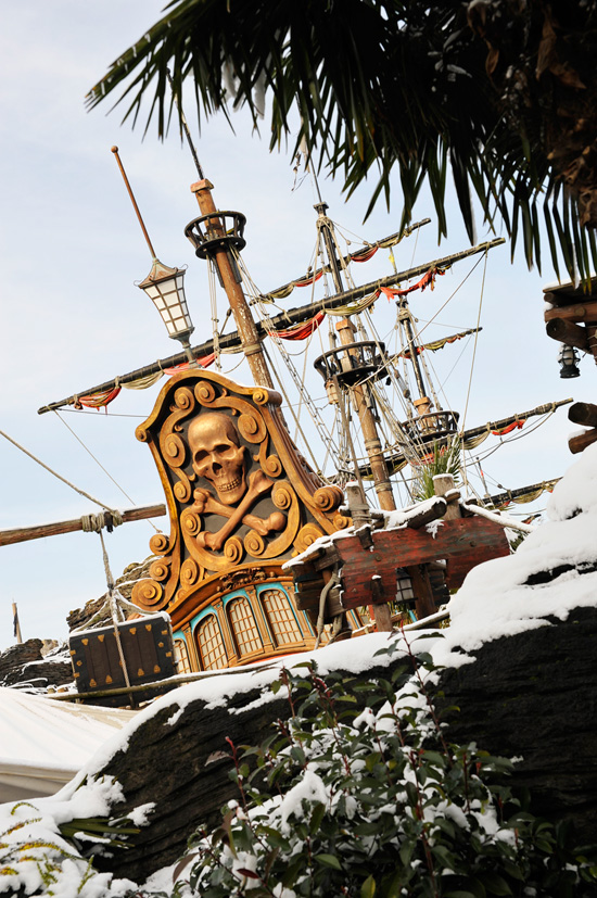 A Snow-Covered Pirate Ship at Disneyland Paris