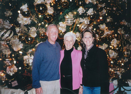 Brien, Mary and Erin Manning in front of Disney tree 2008