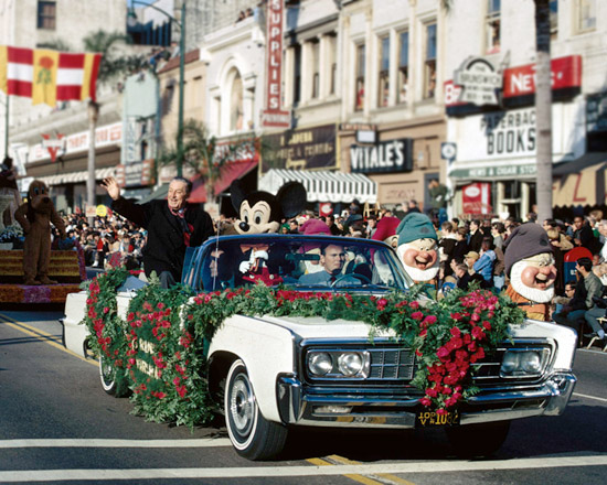 Walt Disney and Mickey Mouse at the Tournament of Roses Parade