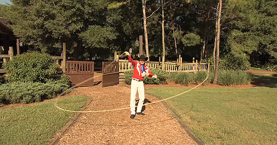 Trick Roper Trevor Performs a Unique Feat with 60-Feet of Rope