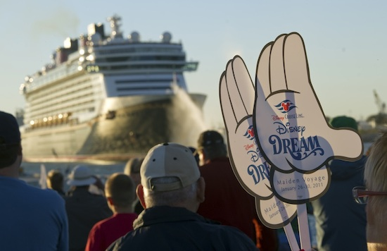 Mickey Mouse Hands Were Waving From on the Ship and on Land as the Disney Dream Departed