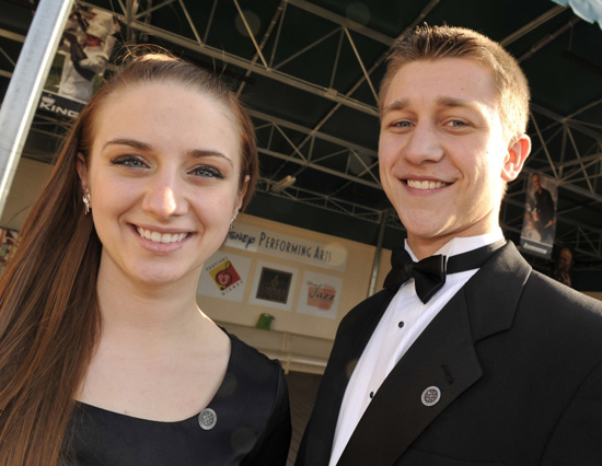 Emily Lockard and Michael Kist of Pittsford Mendon High School show off their new Ears for the Arts pin.