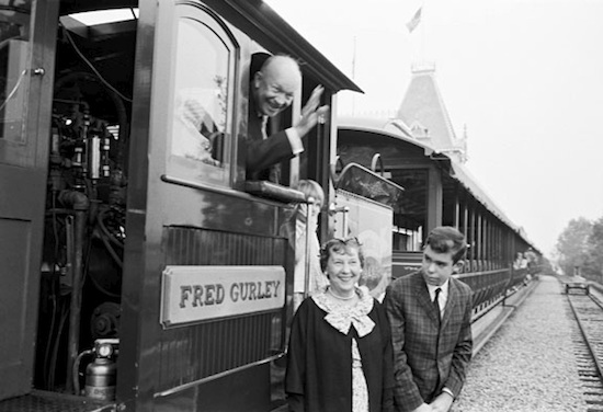 Granddaughter, Mary Jean and Grandson, David with Ike and Mamie at the Main Street Station of the Disneyland Railroad