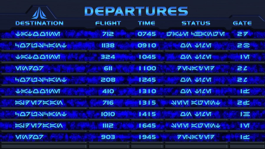 Star Tours Departure Board