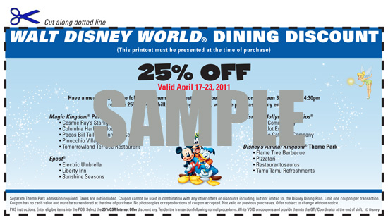 Walt Disney World Dining Voucher