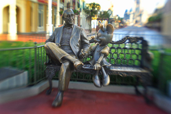 Roy O. Disney Seated Next to Minnie Mouse at Walt Disney World Resort